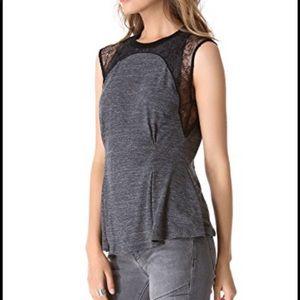 Rebecca Taylor Jersey Lace Peplum Top Gray Black